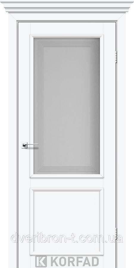 Двери Корфад Classico CL-02 со штапиком в цвете белый перламутр, стекло М3