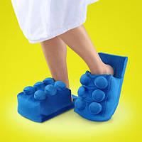 Мягкие комнатные тапочки конструктор Лего, домашние тапочки Lego синие  Код 14-2795