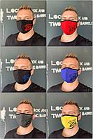 Защитная многоразовая тканевая маска черная мужская женская