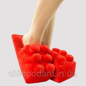 Мягкие комнатные тапочки конструктор Лего, домашние тапочки Lego красные  Код 14-2770