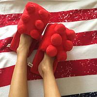 Мягкие комнатные тапочки конструктор Лего, домашние тапочки Lego красные  Код 14-2772
