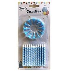 Свечи в торт голубые (уп.24шт.)