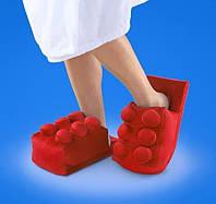 Мягкие комнатные тапочки конструктор Лего, домашние тапочки Lego красные  Код 14-2783