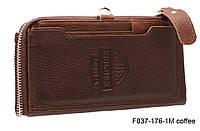 Мужской кошелек из натуральной кожи на кнопке коричневый, фото 1