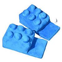 Мягкие комнатные тапочки конструктор Лего, домашние тапочки Lego синие  Код 14-2799