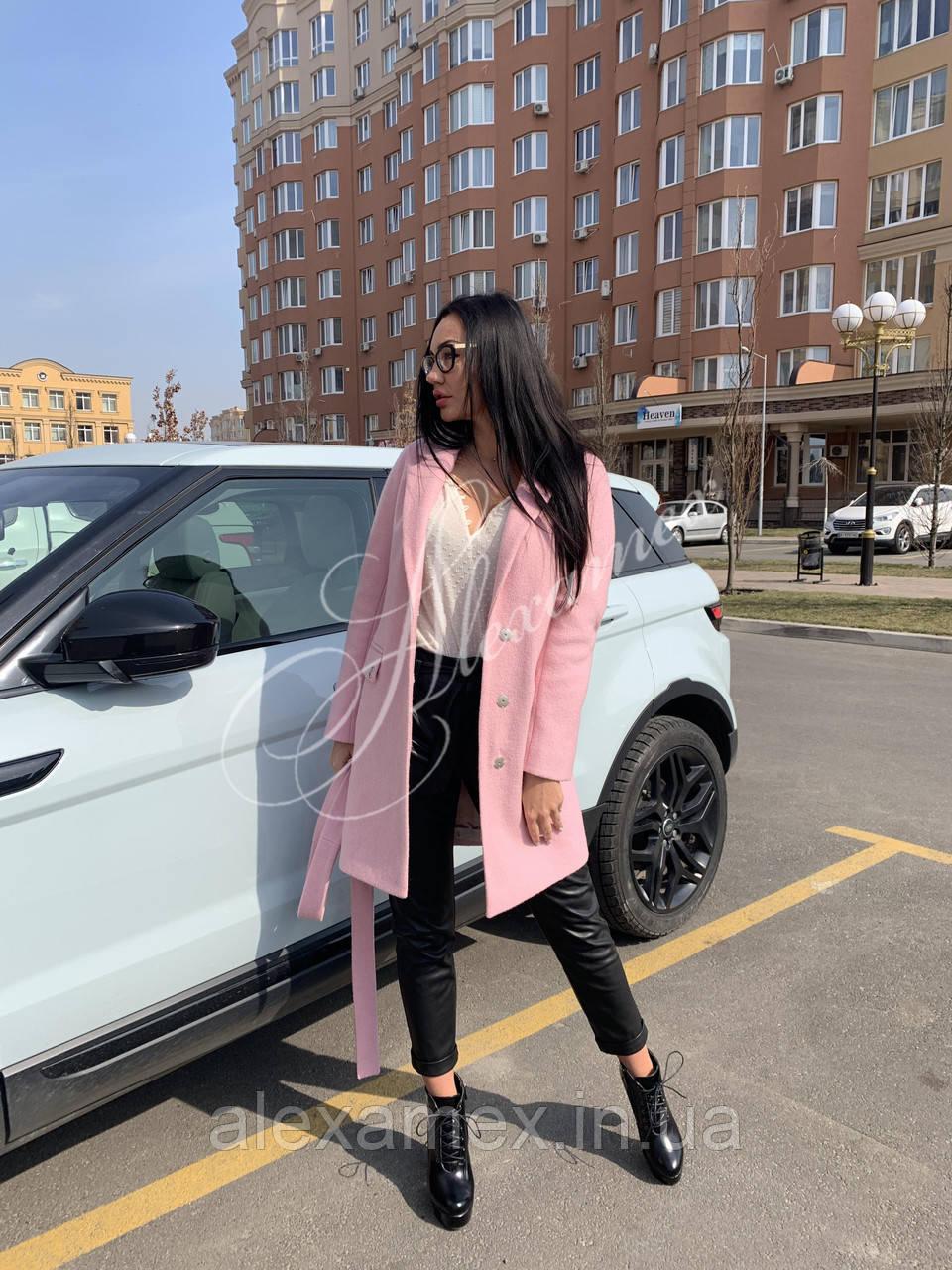 Пальто демисезонное цвет розовый
