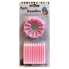 Свечи в торт розовые (уп.24шт.)