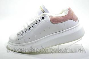 Зимние кроссовки в стиле Alexander McQueen, White\Белые на меху 40-25см.