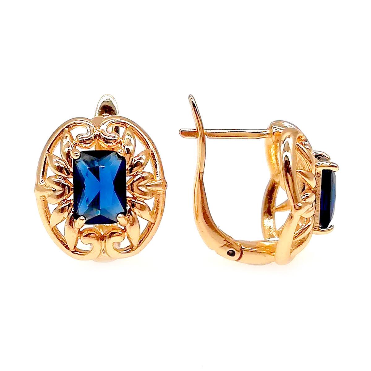 Серьги Xuping из медицинского золота, синие фианиты, позолота 18К, 23834       (1)