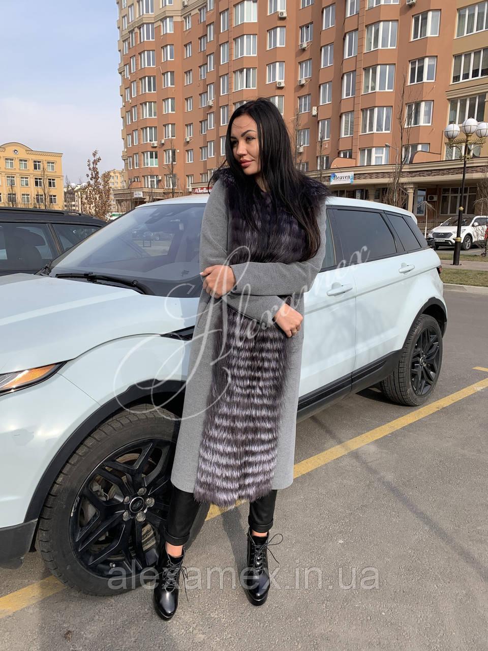 Кашемировое пальто с мехом финской чернобурки