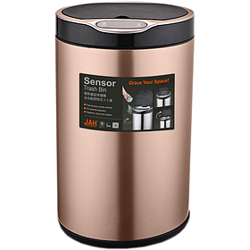 Сенсорное ведро для мусора с внутренним ведром Jah 9л Розовое золото (Papatya-TM)