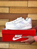 Мужские кроссовки белые Nike Air Force 1 кожаные (реплика +ААА)