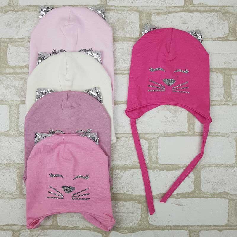 Детская трикотажная шапка для девочки с ушками 44-46 демисезон