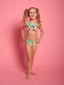 Оптом дитячий різнобарвний купальник для дівчаток (арт. 11-9533) 28р-36р. з фламінго