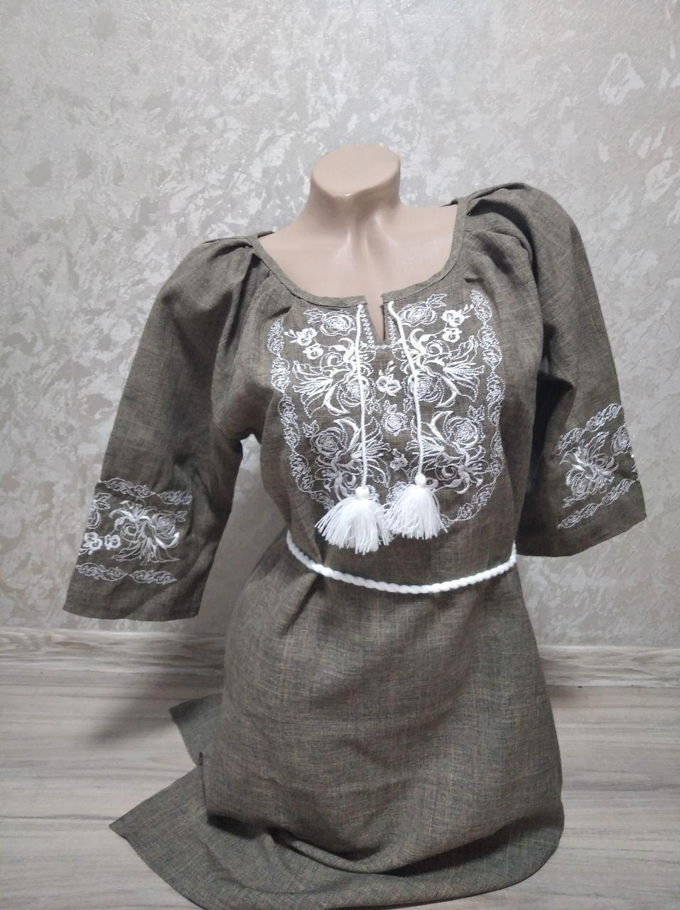 Коричнево-серое женское платье с поясом - размер XL (54)