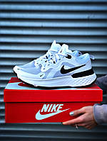 Мужские белые кожаные кроссовки Nike React Infinity Run Flyknit   (реплика +ААА)