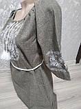 Коричнево-серое женское платье с поясом - размер XL (54), фото 4