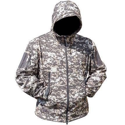 Тактическая куртка Soft Shell Lesko A001 Pixel M мужская влагозащищенная ветрозащитная ветровка камуфляж, фото 2