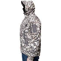 Тактическая куртка Soft Shell ESDY A001 Pixel XL мужская влагозащищенная ветрозащитная ветровка камуфляж, фото 3