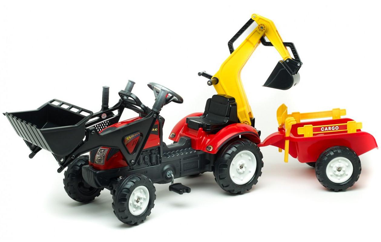 Детский педальный трактор с прицепом и 2 ковшами Falk 2051CN RANCH для дітей