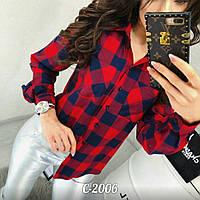Женская стильная блузка в клетку, фото 1