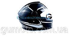 Мотошлем FXW HF-112 черный глянец с белым, фото 3