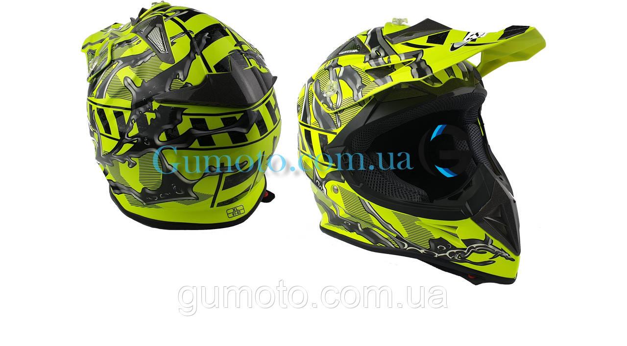 Шлем для мотоцикла Hel-Met 116 кроссовый Neon Yellow размер XS/S