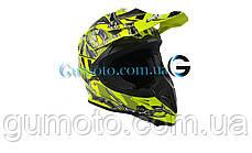 Шлем для мотоцикла Hel-Met 116 кроссовый Neon Yellow размер XS/S, фото 2