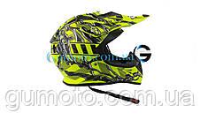Шлем для мотоцикла Hel-Met 116 кроссовый Neon Yellow размер XS/S, фото 3