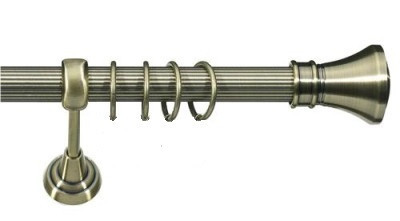 Карниз для штор ø 16мм, одинарный, наконечник Колозео, рифленая