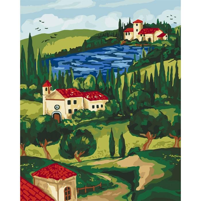 Картина по номерам Домик у реки, 40x50 см., Идейка
