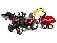 Дитячий педальний трактор з причепом і 2 ковшами Falk 995W CASE IH для дітей, фото 1