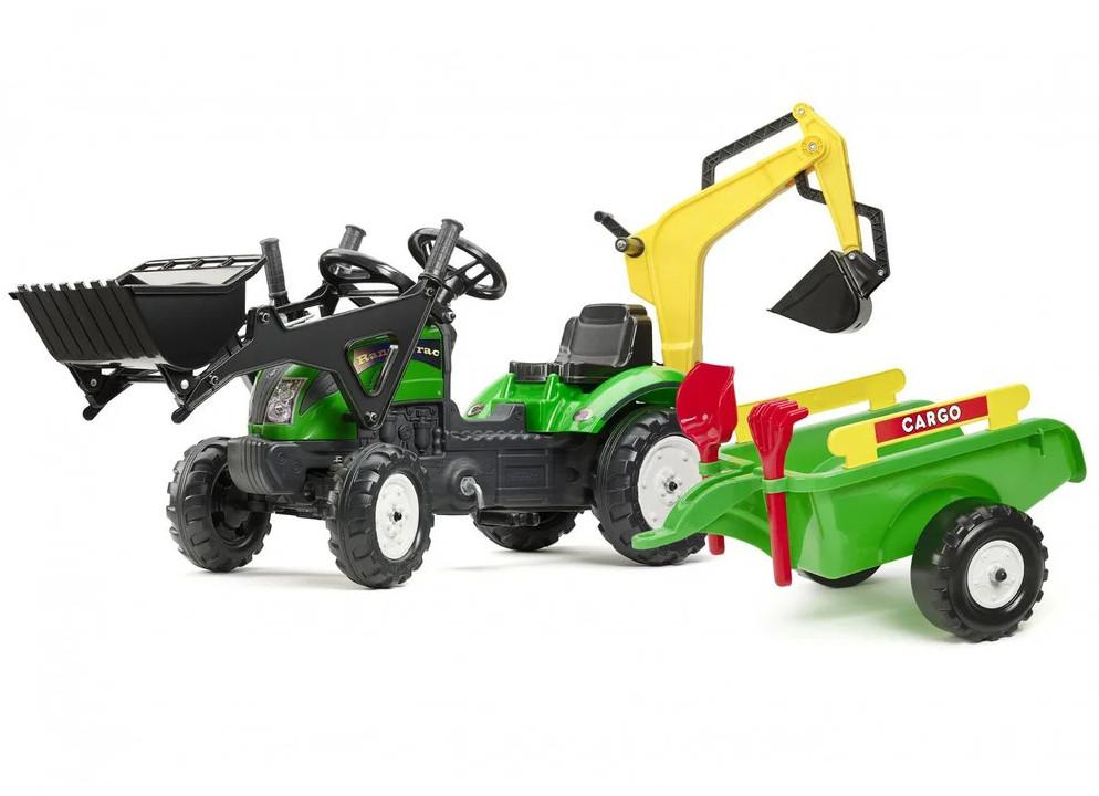 Детский педальный трактор с прицепом и 2 ковшами Falk 2052CN RANCH (дитячий педальний трактор з причепом)
