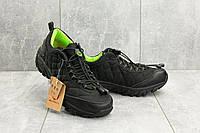 Мужские кроссовки текстильные весна/осень черные-зеленые Ditof A 741 -5