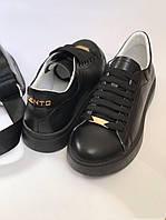 Кеды женские черные кожаные Kento (натуральная кожа, шнуровка)