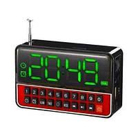 Портативная колонка часы MP3 плеер WSTER WS-1513 Clock Черная/Красная, фото 1