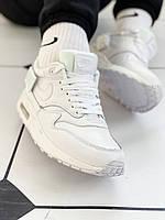 Кроссовки мужские белые кожа Nike WMNS Air Max 1-100 (найк аир макс)  (реплика), фото 1
