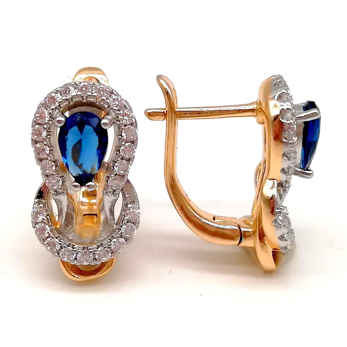 Серьги Xuping из медицинского золота, синие фианиты, позолота 18К + родий, 23663       (1)