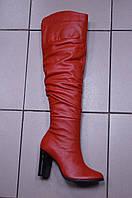 Красные высокие кожаные сапоги на каблуке.Украина. Есть три цвета: красные ,черные  и бежевые (евро-мех)., фото 1
