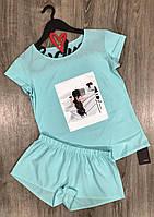 Молодежные пижамы с рисунками, комплект футболка и шорты.
