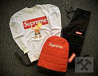 Спортивный костюм мужской Supreme x black-white осенний весенний | ТОП качество, фото 1