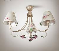 Люстра в стиле прованс с цветами для спальни, 3-х ламповая 9533