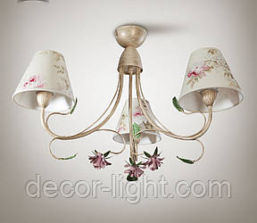 Люстра в стилі прованс з квітами для спальні, 3-х лампова 9533