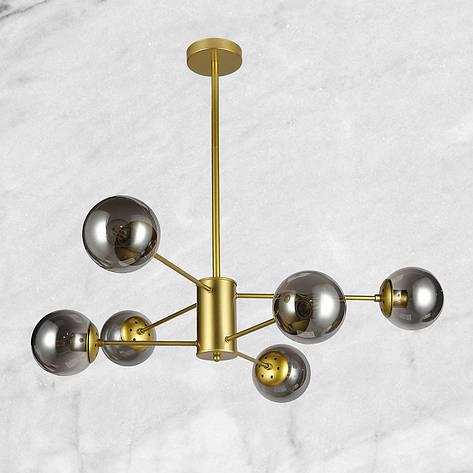 Люстра золотая на шесть чёрных плафонов, фото 2