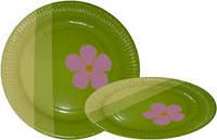 Тарелка бумажная круглая 18см зелёная+цветок