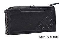 Мужской кошелек из натуральной кожи на кнопке, черный, фото 1