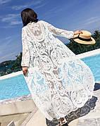 Пляжная туника длинная с вышивкой ажурна белая