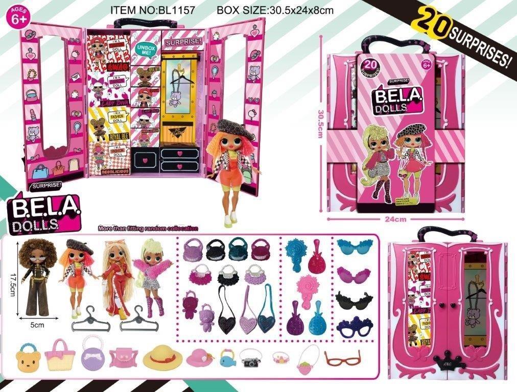 Игровой набор кукла Bella Dolls шкаф для одежды кукол ,  кукла 17,5см+сюрпризы: одежда, украшения,