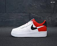Мужские кроссовки в стиле Nike Air Force 1 Low NBA, натуральна кожа, полиуретан, белые с красным 41 (26 см)
