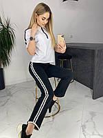 Женский стильный спортивный костюм брюки и футболка ткань двунить